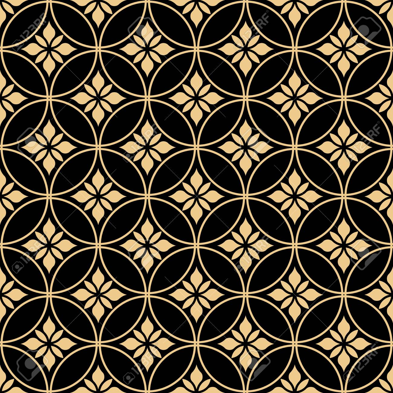 Flower Geometric Pattern Seamless Vector Background Gold And