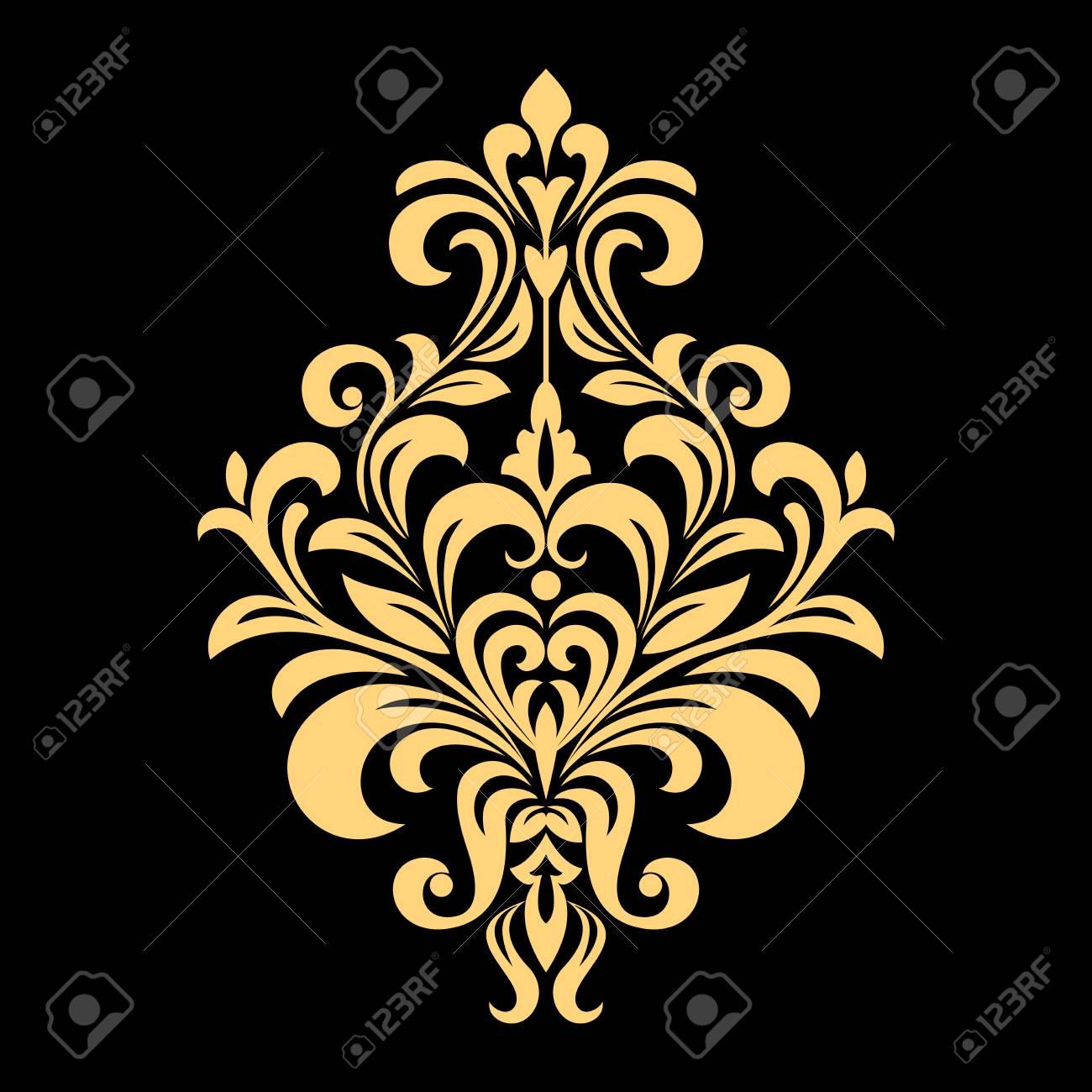 Golden vector pattern on a black background. Damask graphic ornament. Floral design element. - 101723528