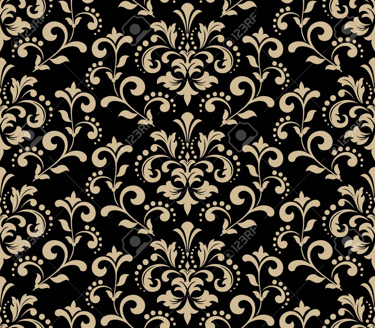 Floral Pattern Vintage Wallpaper In The Baroque Style Seamless Vector Background Gold And