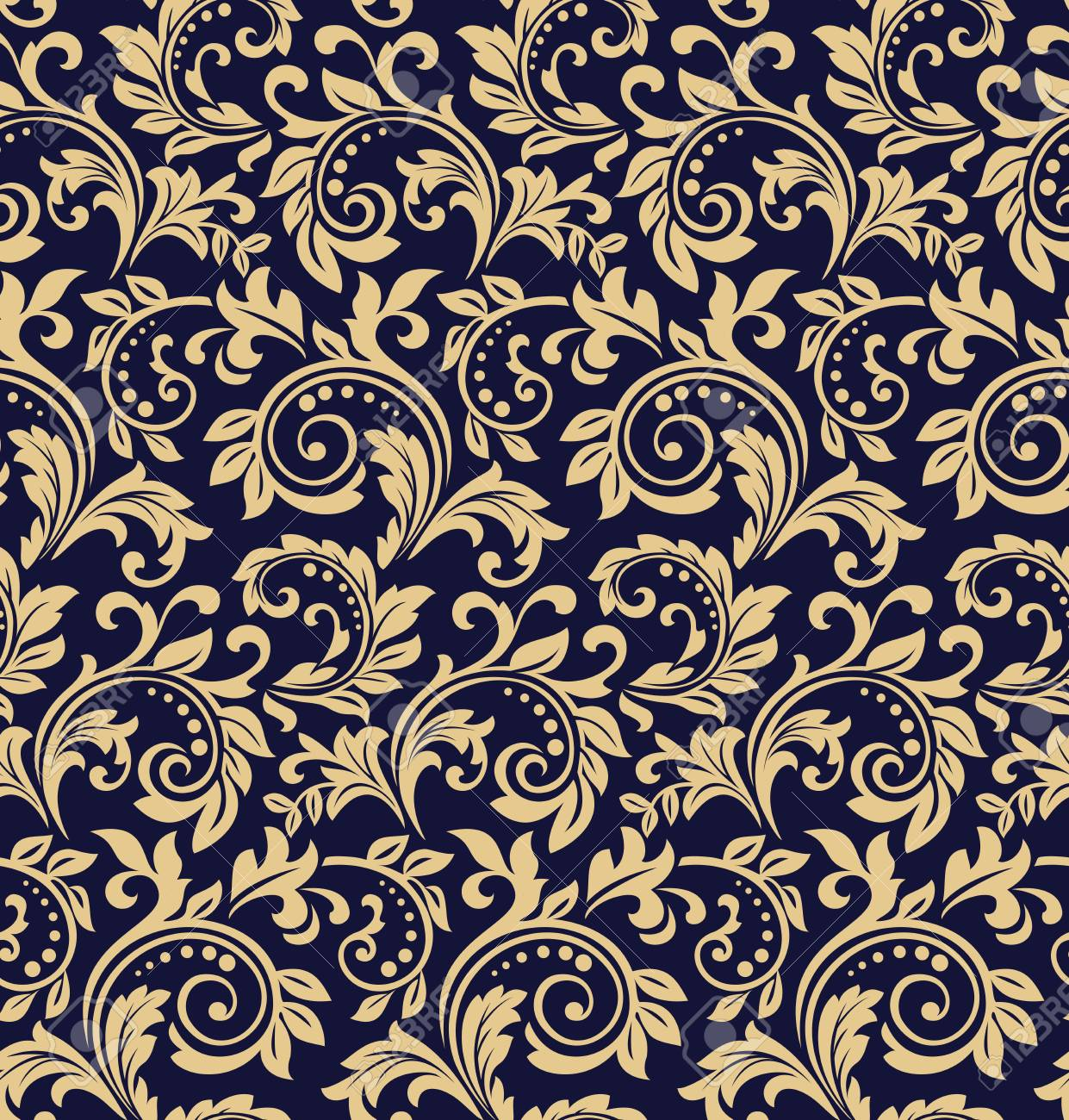 Wallpaper in the style of Baroque. Seamless vector background. Dark blue and gold floral ornament. Graphic pattern for fabric, wallpaper, packaging. Ornate Damask flower ornament - 103477617