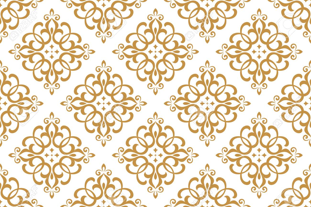 Wallpaper in the style of Baroque. Seamless vector background. White and gold floral ornament. Graphic pattern for fabric, wallpaper, packaging. Ornate Damask flower ornament - 106153678