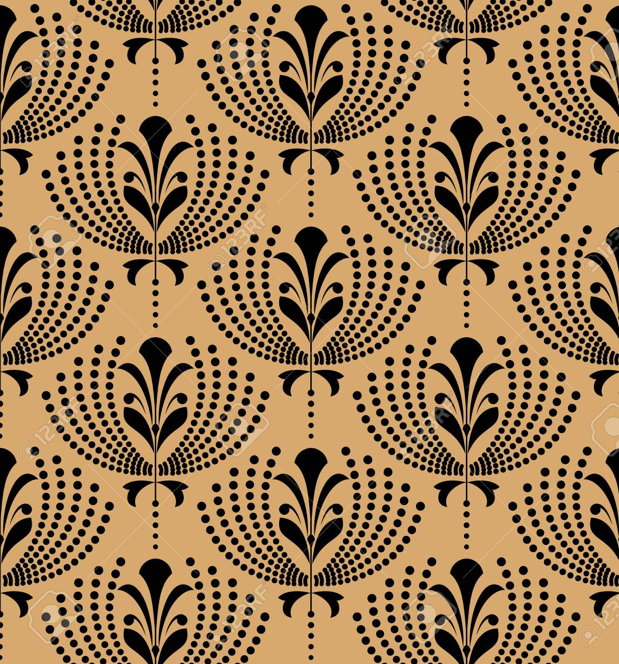 Flower pattern. Seamless black and gold ornament. Graphic vector background. Ornament for fabric, wallpaper, packaging - 111995636