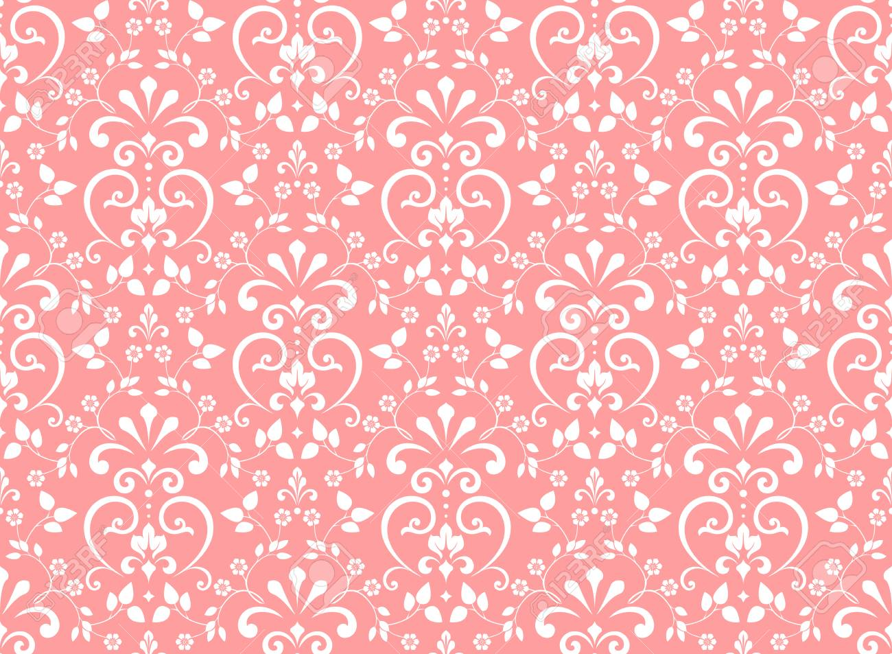 Floral Pattern Vintage Wallpaper In The Baroque Style Seamless Vector Background White And Pink Ornament For Fabric Wallpaper Packaging Ornate