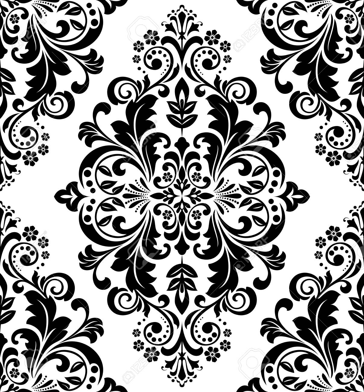 Damask Seamless Floral Pattern Royal Wallpaper Black Flowers