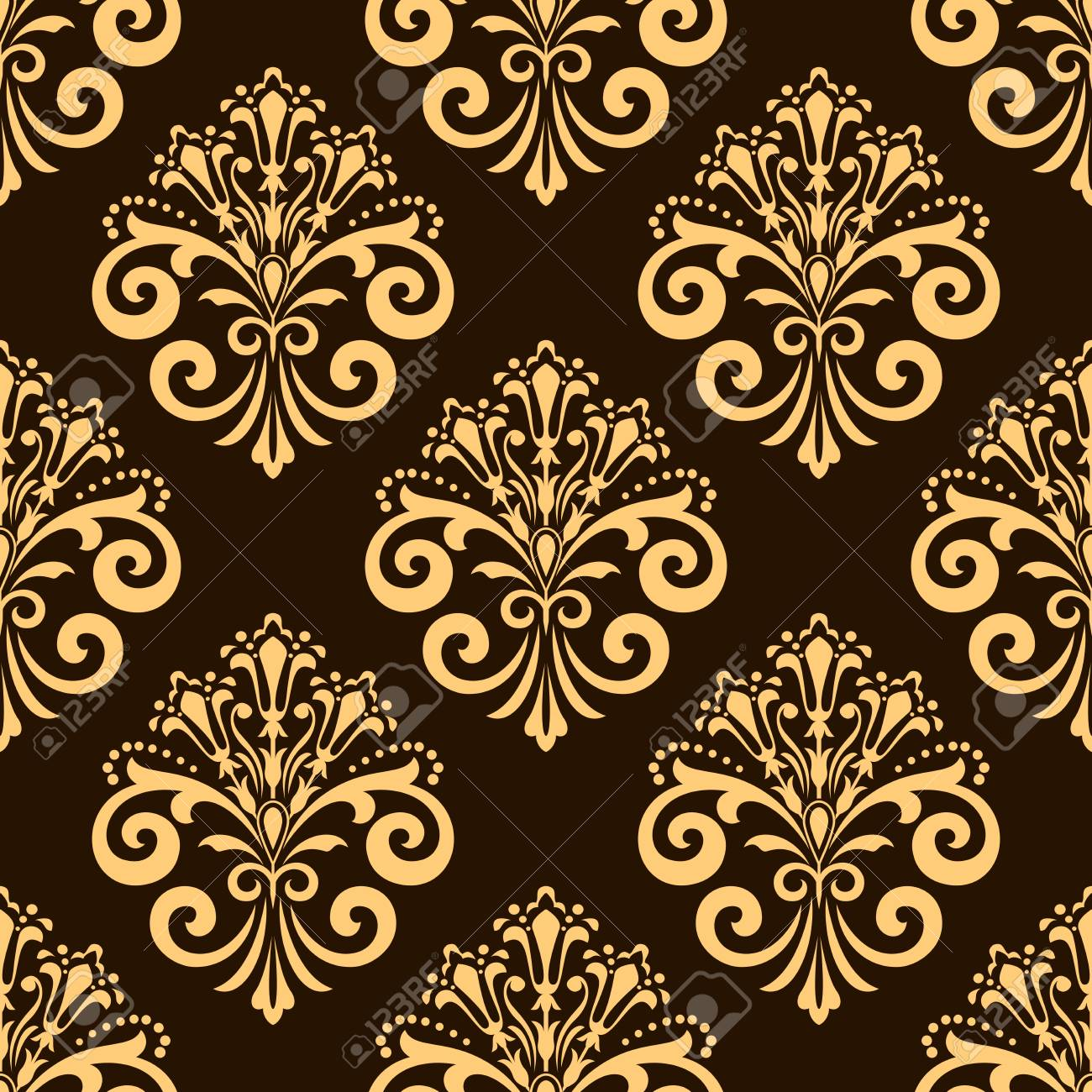 Wallpaper In The Style Of Baroque Dark Brown And Gold Floral