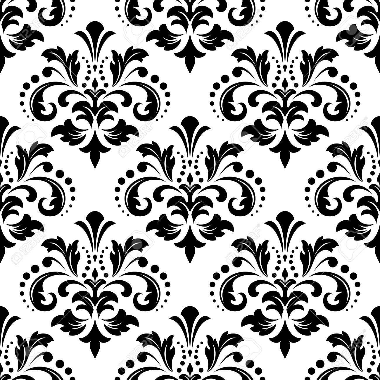 Floral Pattern Vintage Wallpaper In The Baroque Style Seamless