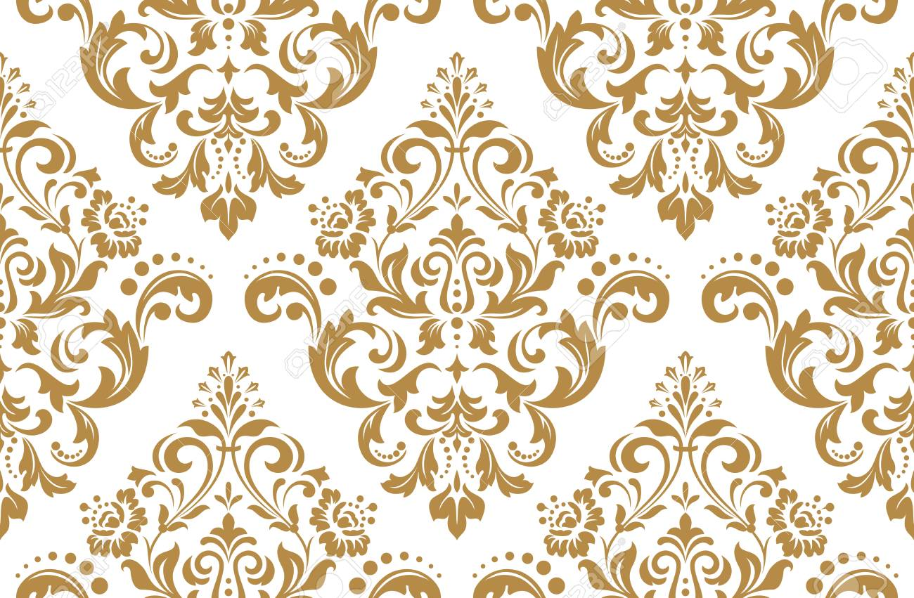 Wallpaper In The Style Of Baroque A Seamless Background White