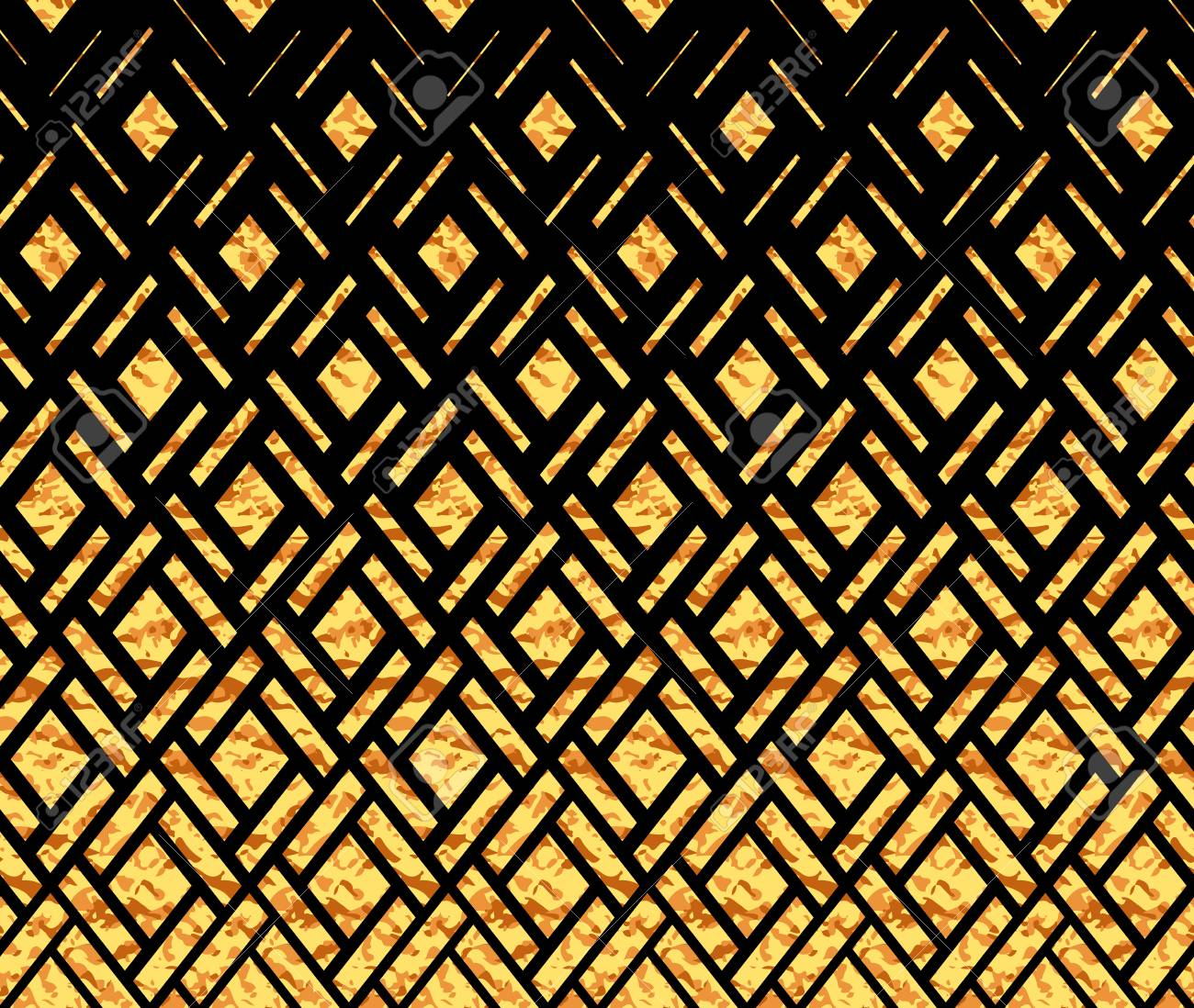 Abstract Geometric Pattern Background Black And Gold Halftone