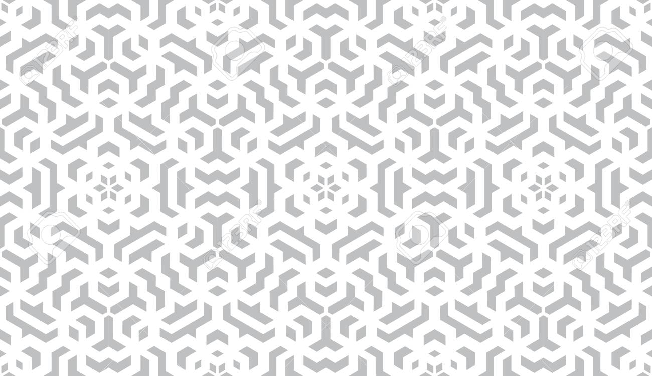 Abstract geometry pattern in Arabian style. Seamless background. White and grey graphic ornament. Simple lattice graphic design. - 113532871
