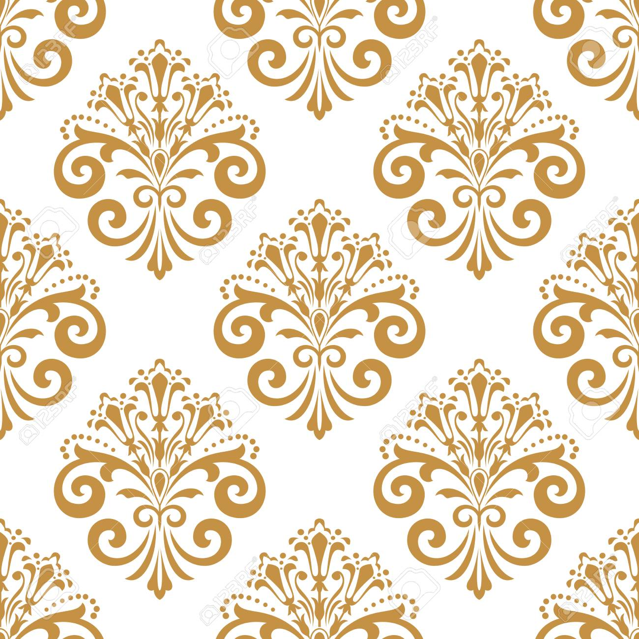 Wallpaper In The Style Of Baroque Seamless Background White