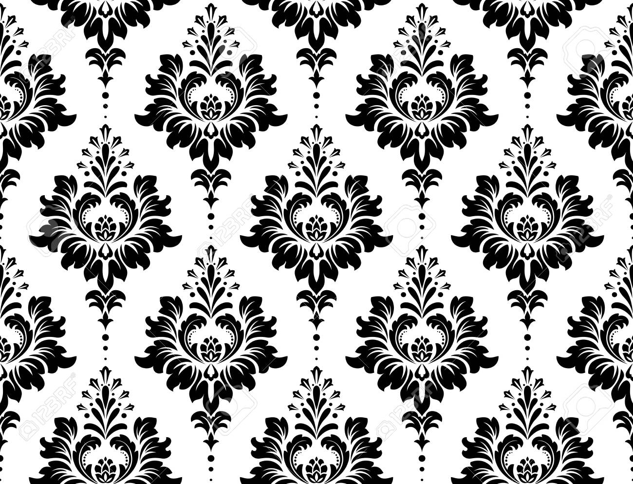 Wallpaper in the style of Baroque. Seamless vector background. White and black floral ornament. Graphic pattern for fabric, wallpaper, packaging. Ornate Damask flower ornament - 121887042