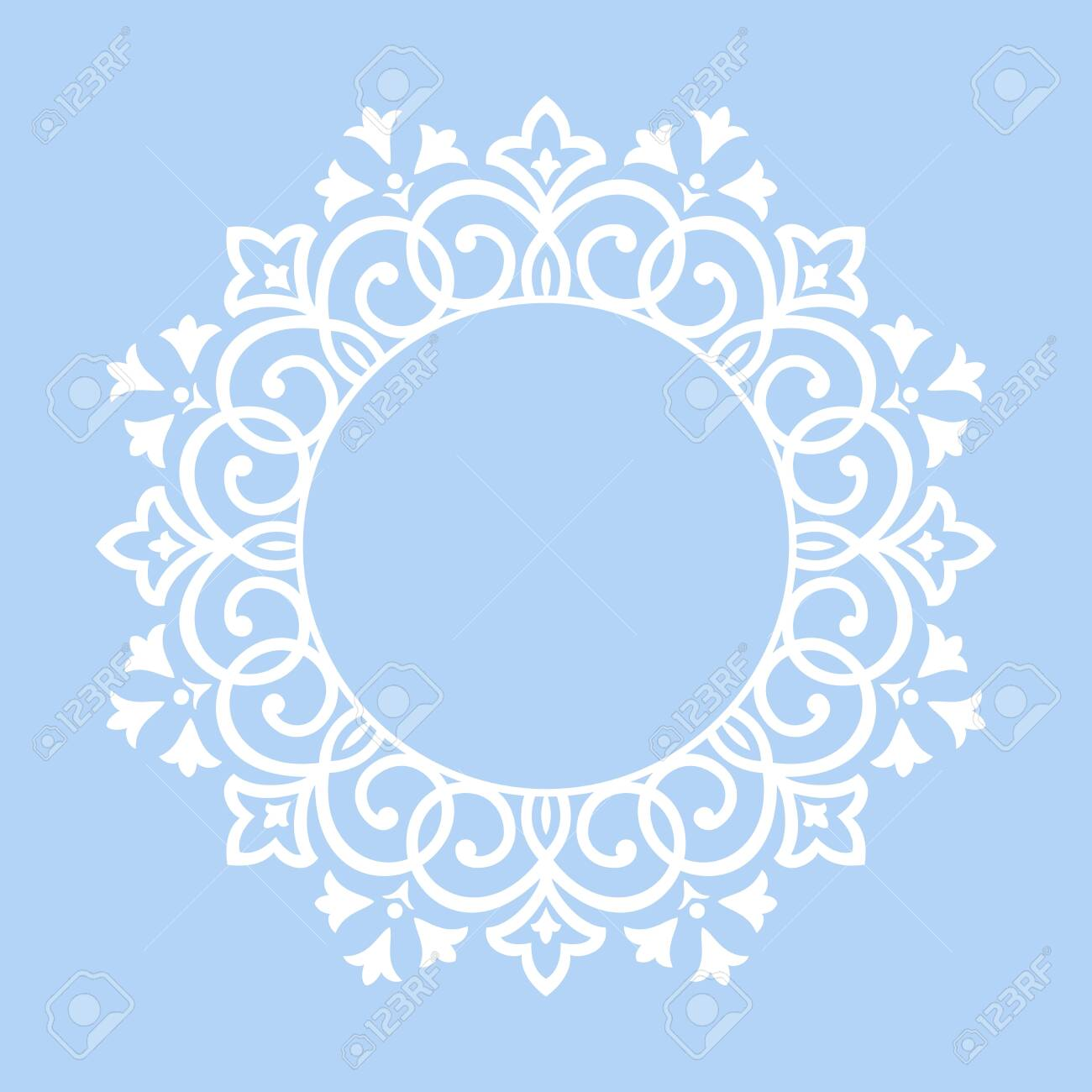 Decorative frame Elegant vector element for design in Eastern style, place for text. Floral blue border. Lace illustration for invitations and greeting cards - 124239709