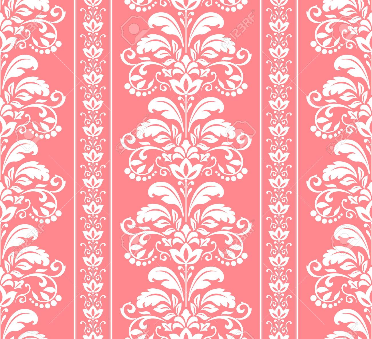 Floral Pattern Vintage Wallpaper In The Baroque Style Seamless Background White And Pink Ornament For Fabric Wallpaper Packaging Ornate Damask