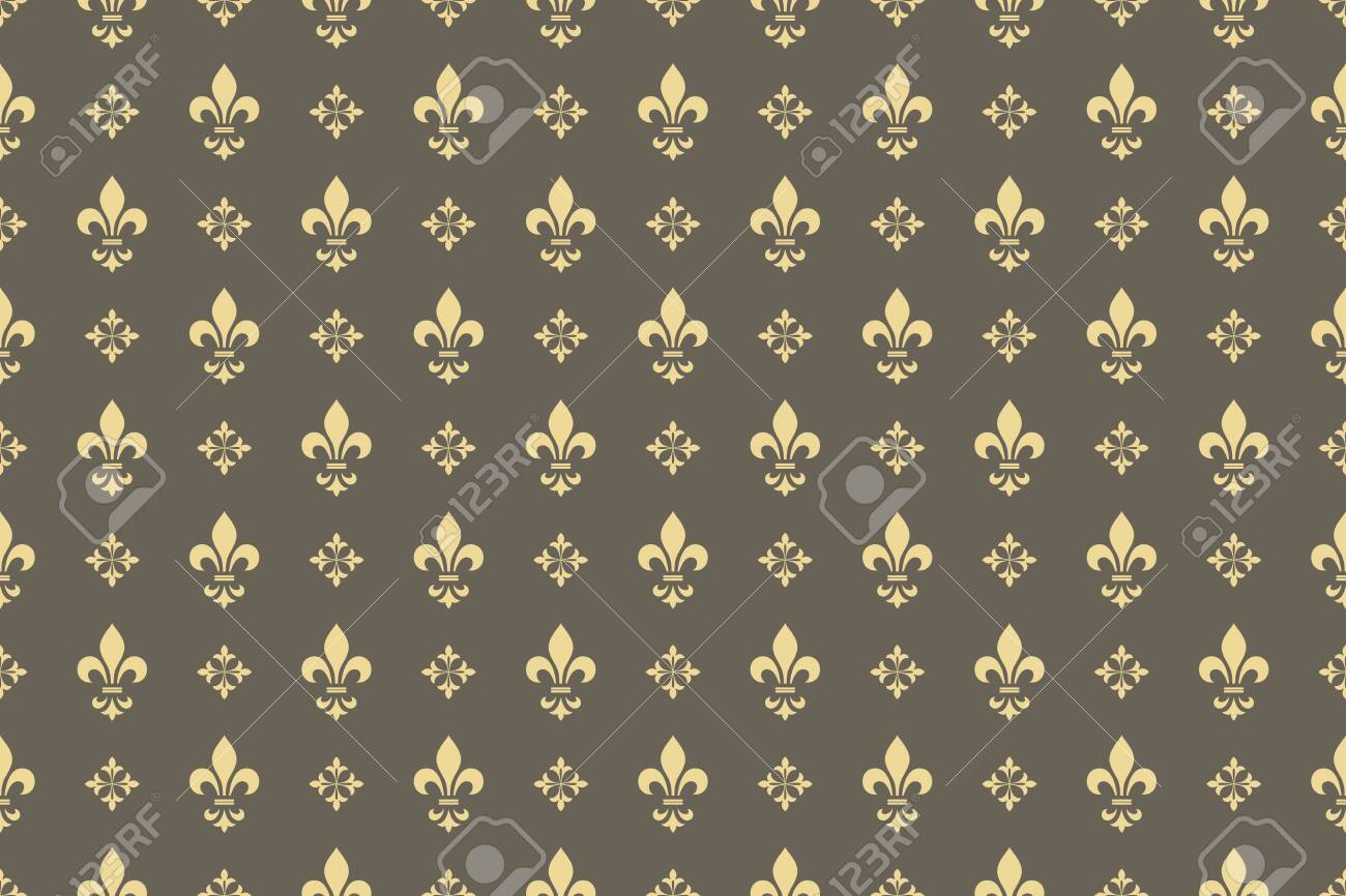 Wallpaper in the style of Baroque. Seamless vector background. Gold and grey floral ornament. Graphic pattern for fabric, wallpaper, packaging. Ornate Damask flower ornament - 130768804
