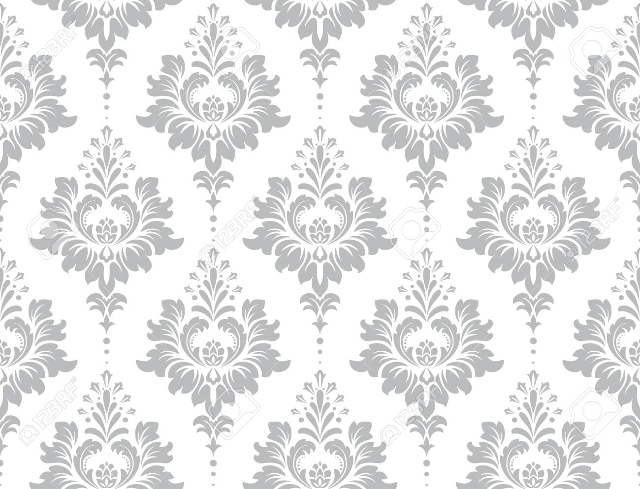 Wallpaper in the style of Baroque. Seamless vector background. White and grey floral ornament. Graphic pattern for fabric, wallpaper, packaging. Ornate Damask flower ornament. - 133435251