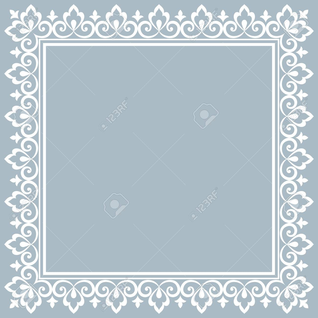 Decorative frame Elegant vector element for design in Eastern style, place for text. Floral blue border. Lace illustration for invitations and greeting cards - 133795740