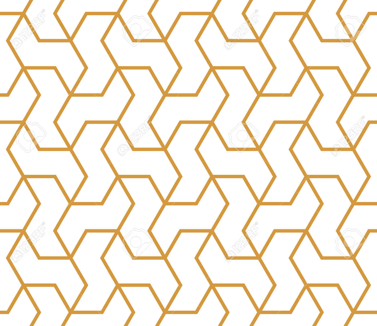 The geometric pattern with lines. Seamless vector background. White and gold texture. Graphic modern pattern. Simple lattice graphic design - 168019209