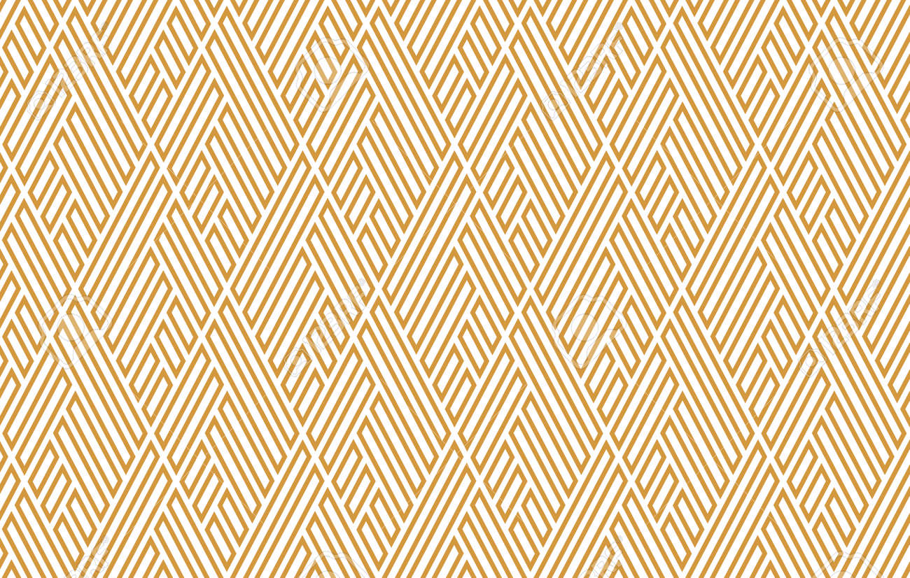 Abstract geometric pattern with stripes, lines. Seamless vector background. White and gold ornament. Simple lattice graphic design - 169878867