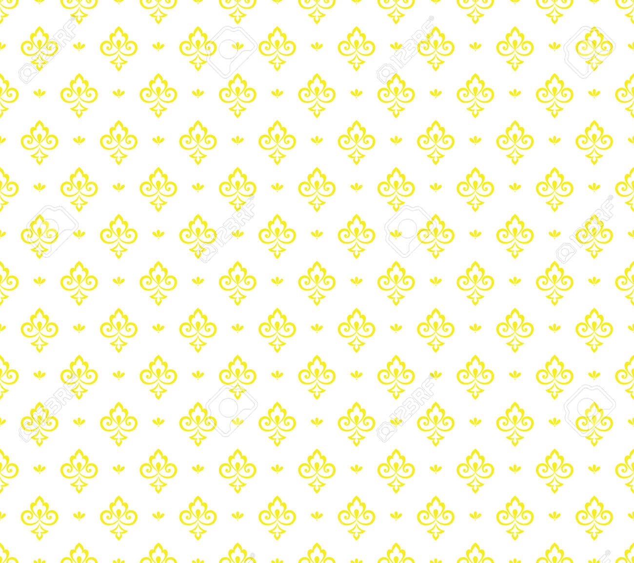 Flower geometric pattern. Seamless vector background. White and yellow ornament - 169878868