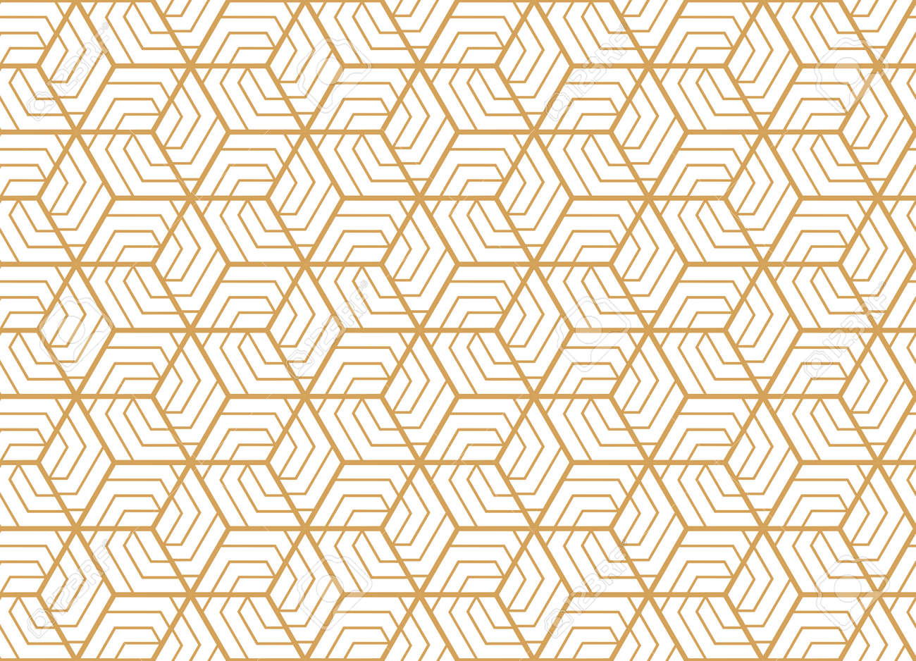 Abstract geometric pattern with stripes, lines. Seamless vector background. White and gold ornament. Simple lattice graphic design - 169878870