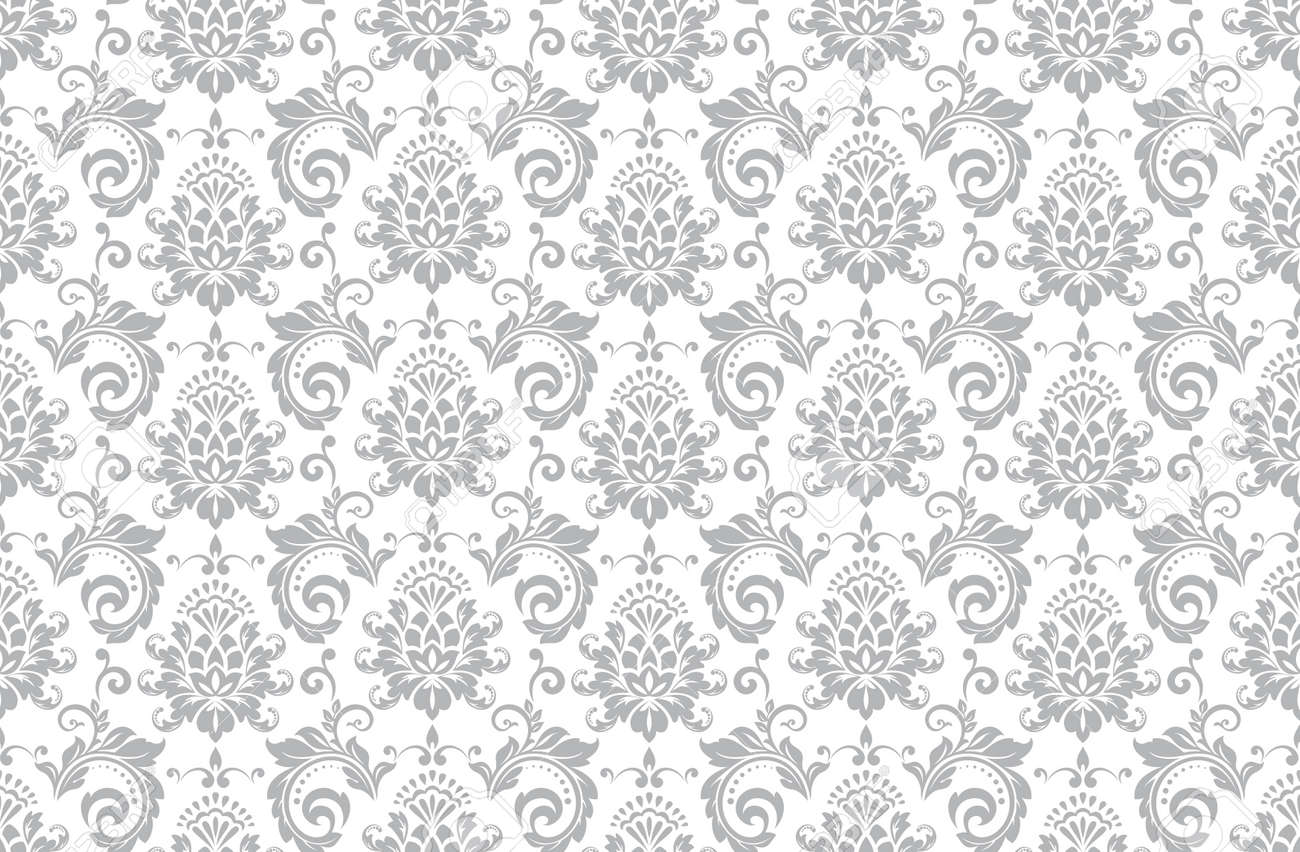 Wallpaper in the style of Baroque. Seamless vector background. White and gray floral ornament. Graphic pattern for fabric, wallpaper, packaging. Ornate Damask flower ornament. - 169878875
