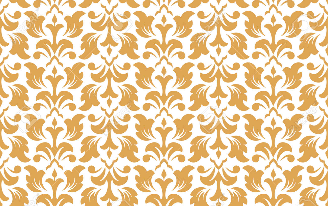 Flower geometric pattern. Seamless vector background. White and gold ornament. Ornament for fabric, wallpaper, packaging. Decorative print - 169878876