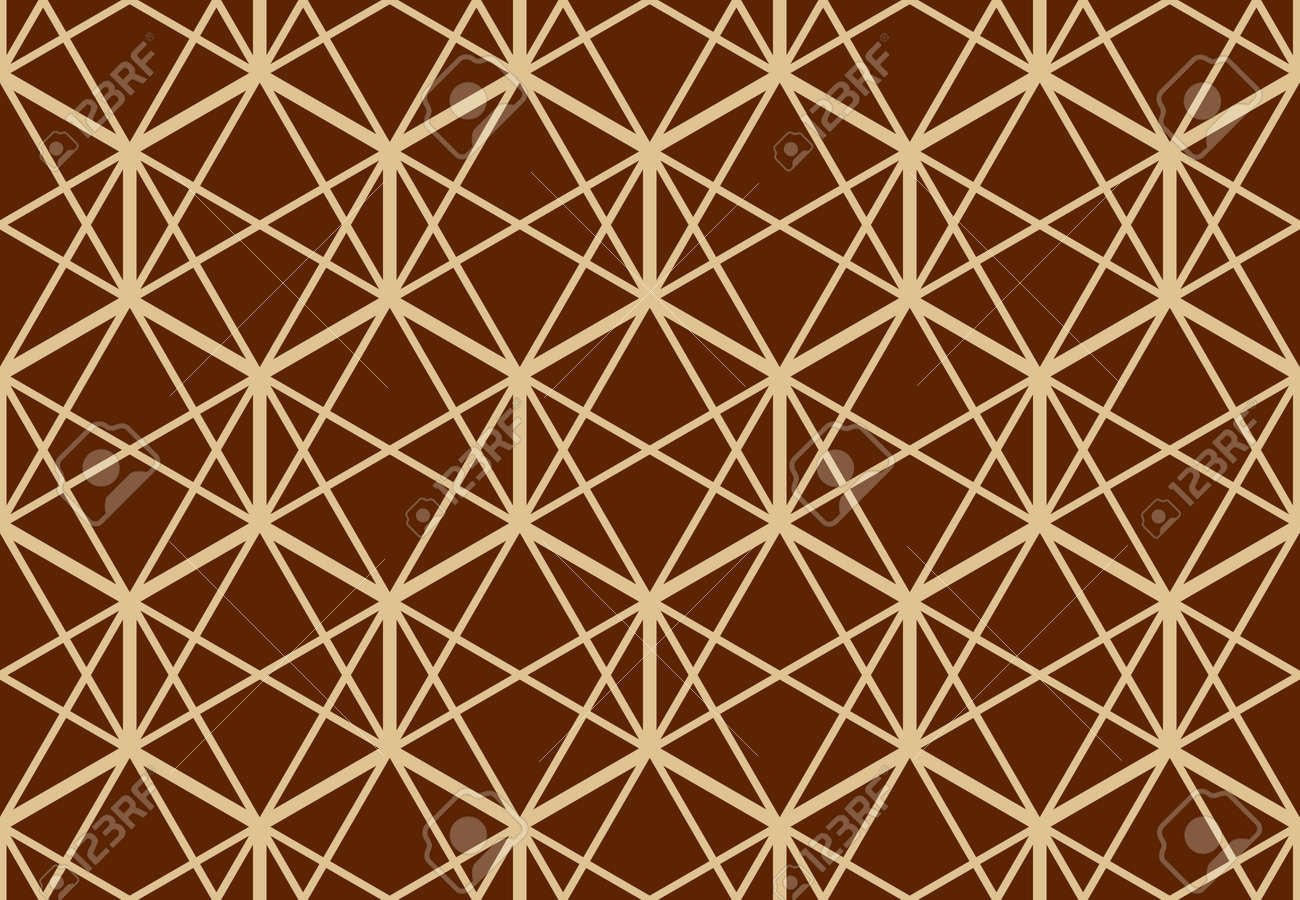 The geometric pattern with lines. Seamless vector background. Gold and dark brown texture. Graphic modern pattern. Simple lattice graphic design - 169878882