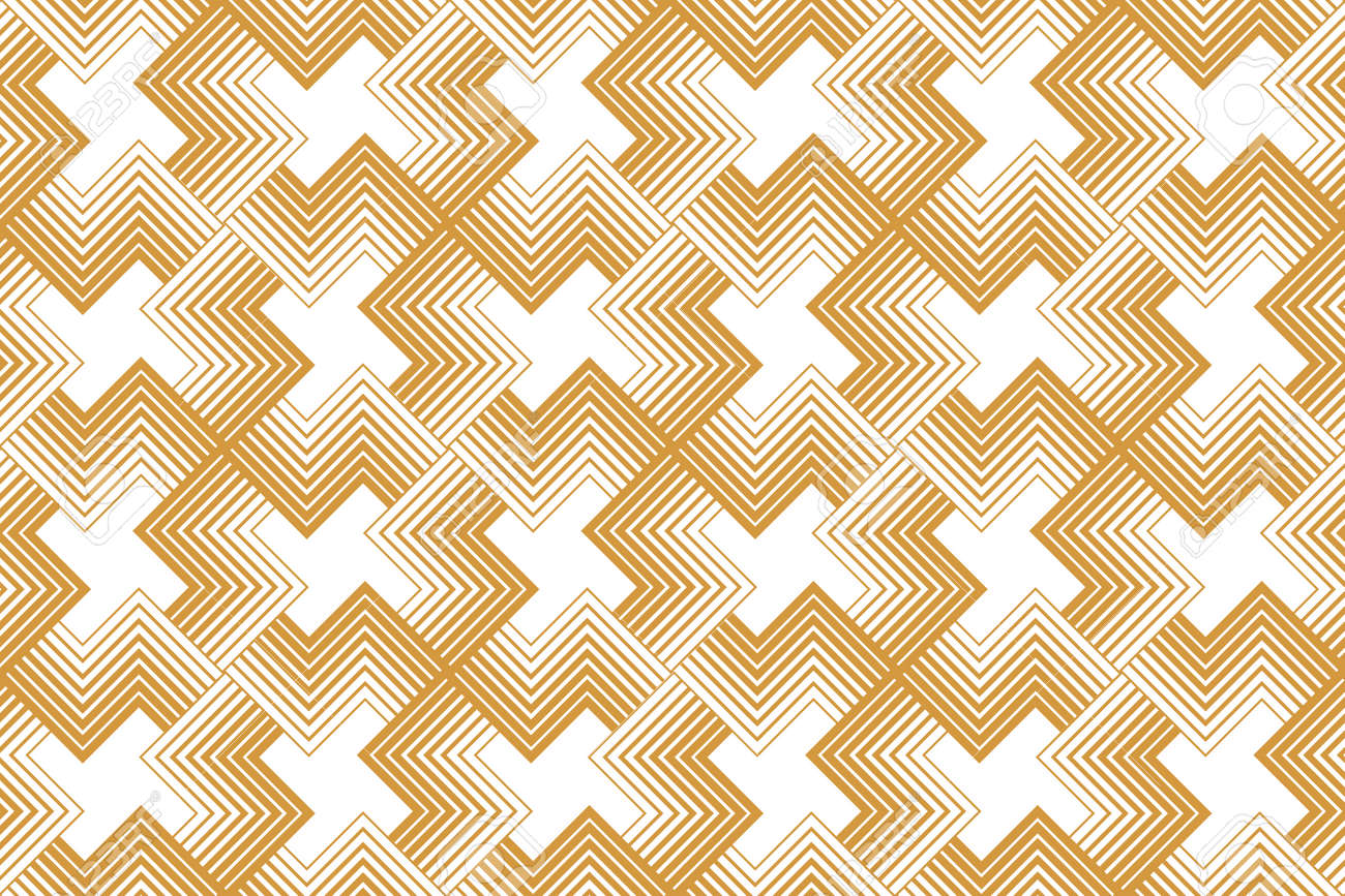 Abstract geometric pattern with stripes, lines. Seamless vector background. White and gold ornament. Simple lattice graphic design - 169878900