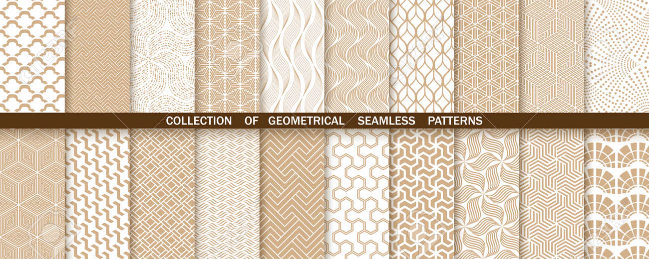 Geometric set of seamless gold and white patterns. Simple vector graphics - 169842857
