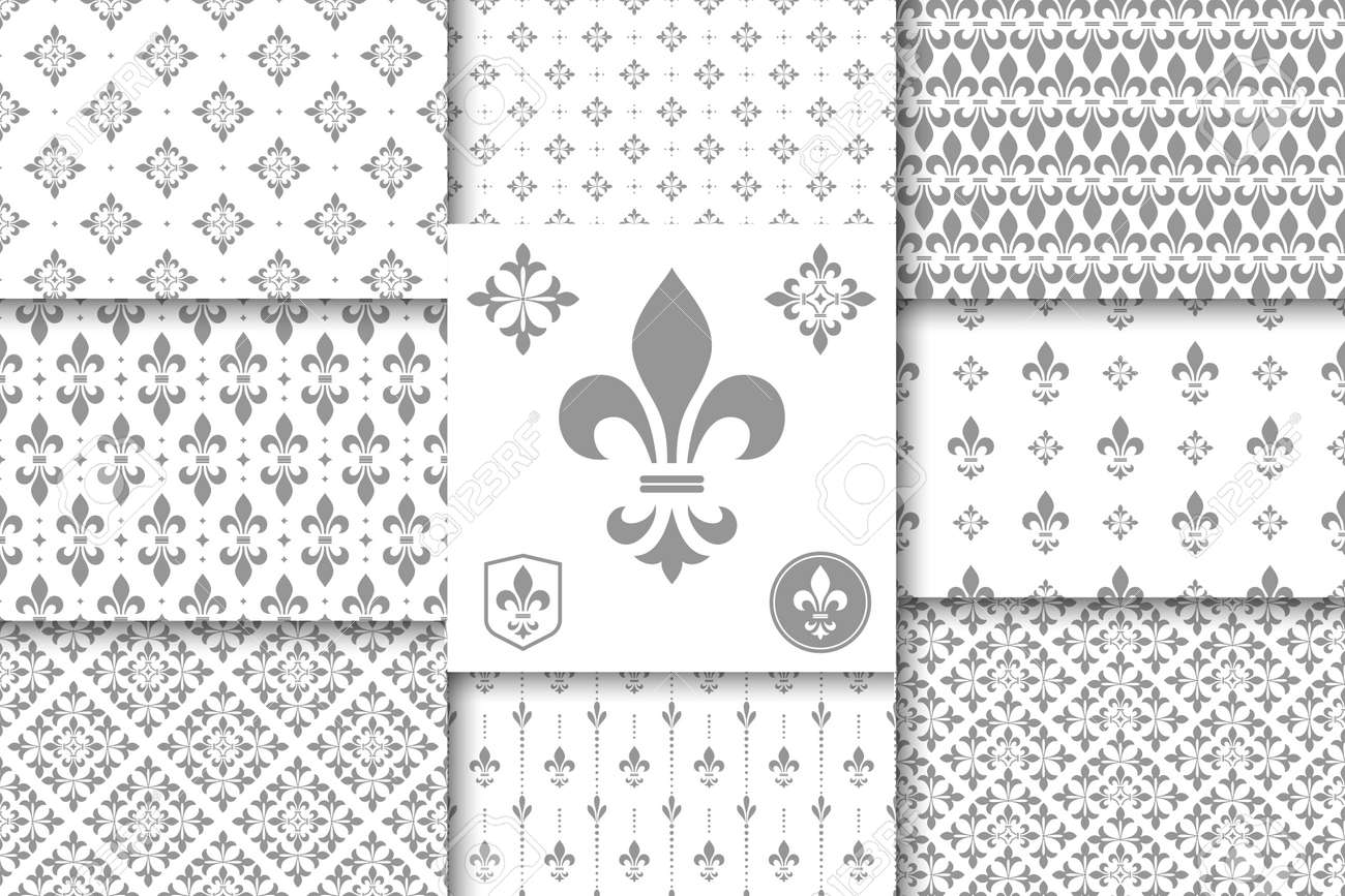 Geometric floral set of seamless patterns. Gray and white vector backgrounds. Simple illustrations. - 169842862
