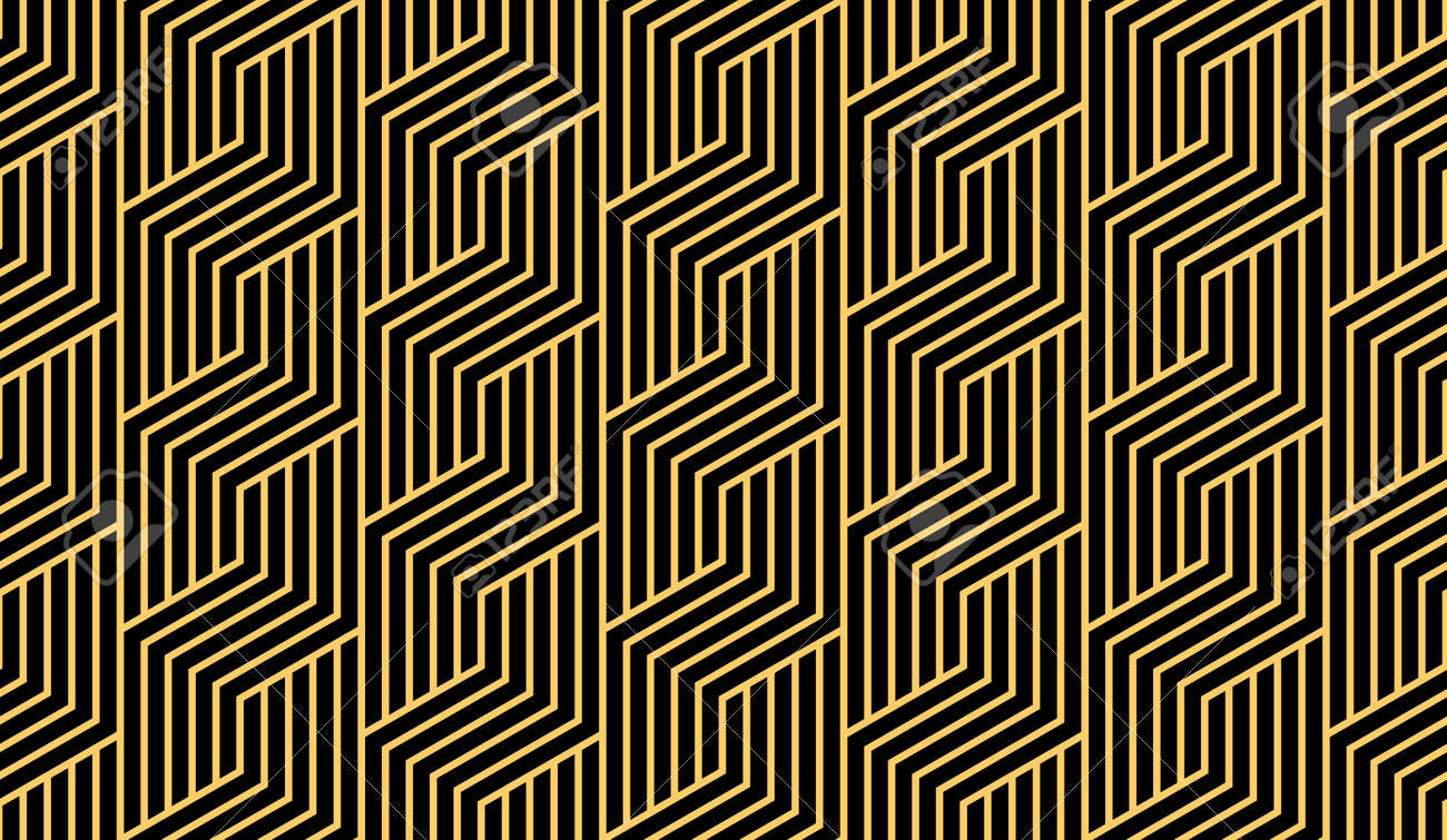 Abstract geometric pattern with stripes, lines. Seamless vector background. Gold and black ornament. Simple lattice graphic design - 169842896