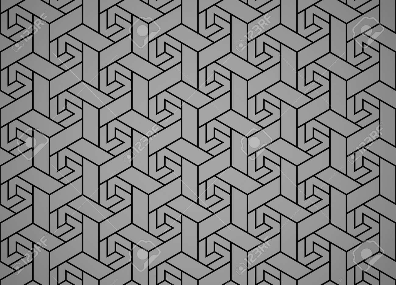 The geometric pattern with lines. Seamless vector background. Black and gray texture. Graphic modern pattern. Simple lattice graphic design - 169842908
