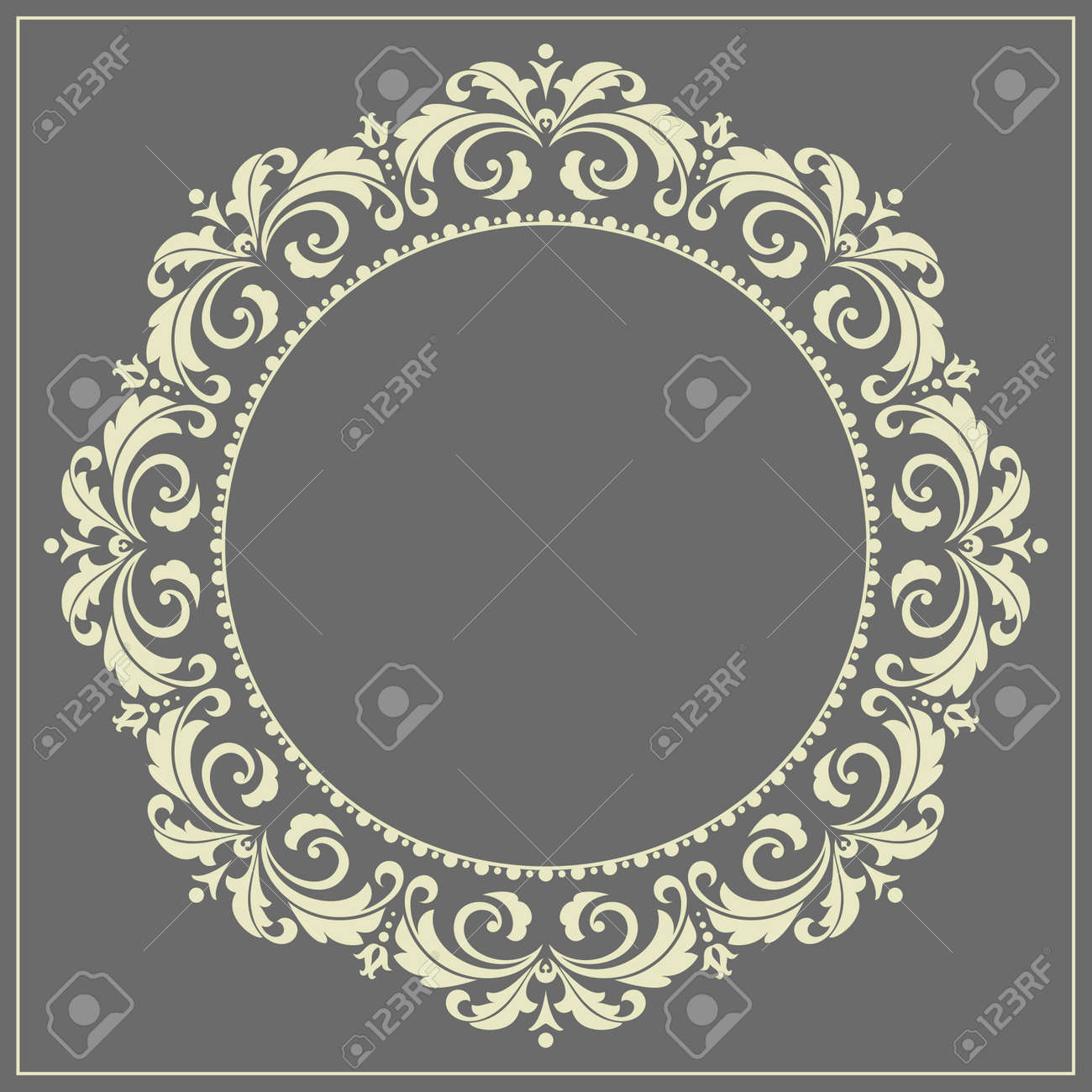 Decorative frame Elegant vector element for design in Eastern style, place for text. Floral golden and black border. Lace illustration for invitations and greeting cards - 169842970