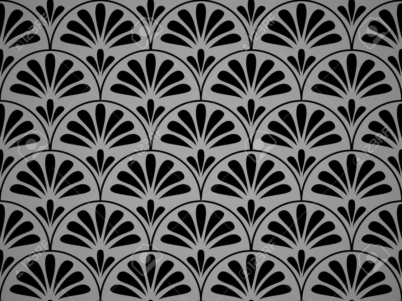 Flower geometric pattern. Seamless vector background. Black and gray ornament. Ornament for fabric, wallpaper, packaging. Decorative print - 169878908