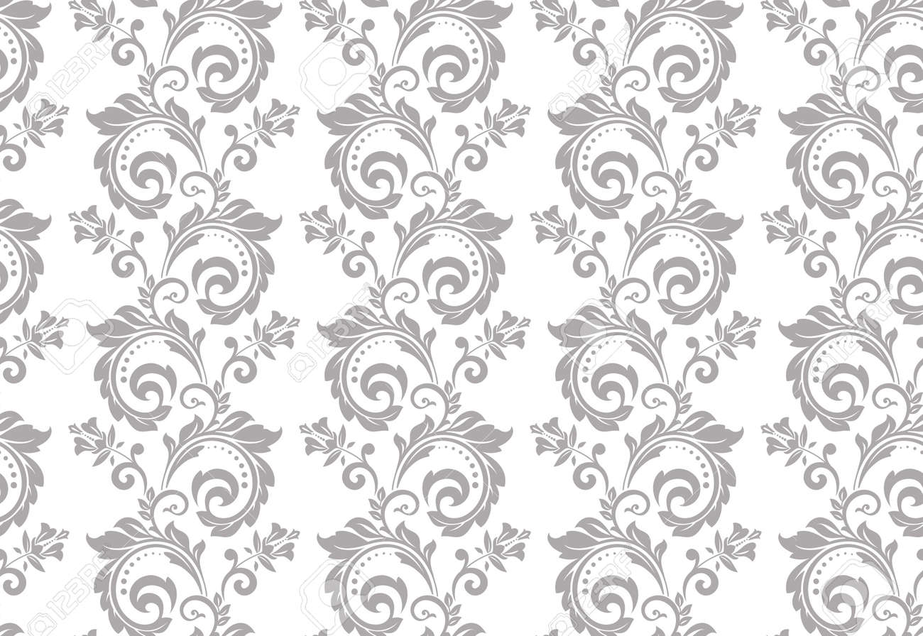 Floral pattern. Vintage wallpaper in the Baroque style. Seamless vector background. White and gray ornament for fabric, wallpaper, packaging. Ornate Damask flower ornament. - 169878907