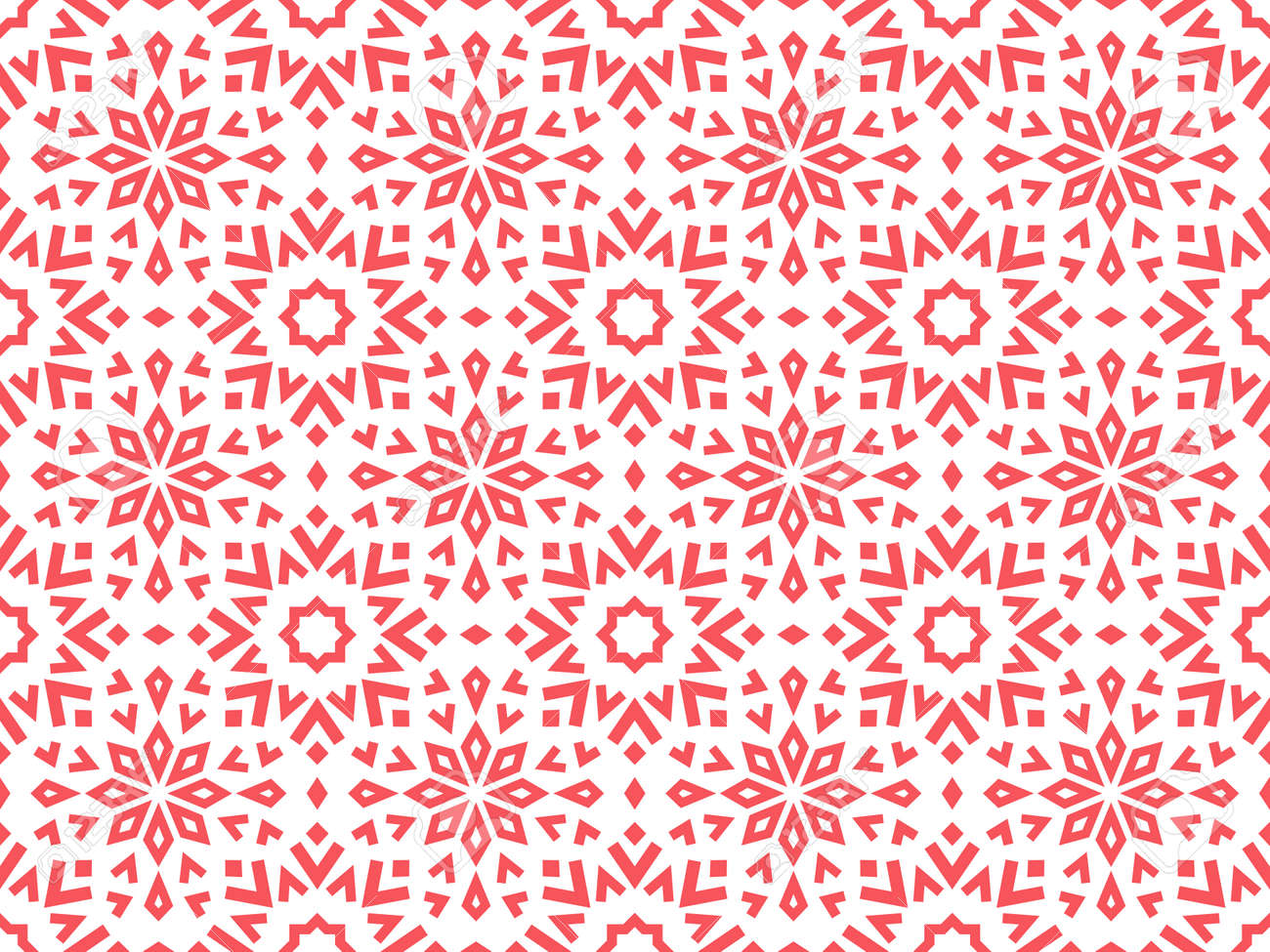 Abstract geometric pattern with lines, snowflakes. A seamless vector background. White and pink texture. Graphic modern pattern - 169878935