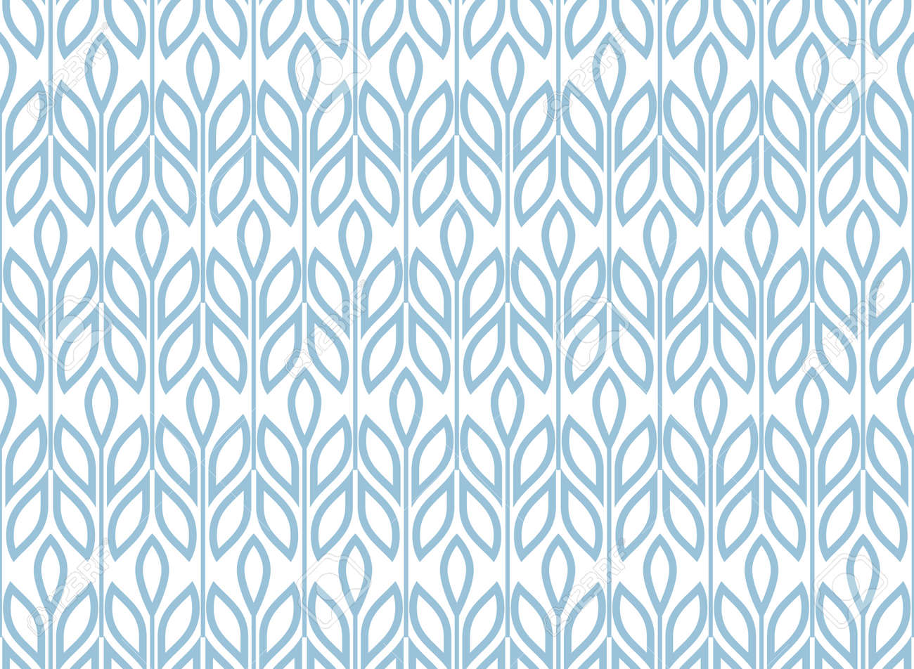 Flower geometric pattern. Seamless vector background. White and blue ornament. Ornament for fabric, wallpaper, packaging. Decorative print - 170173011