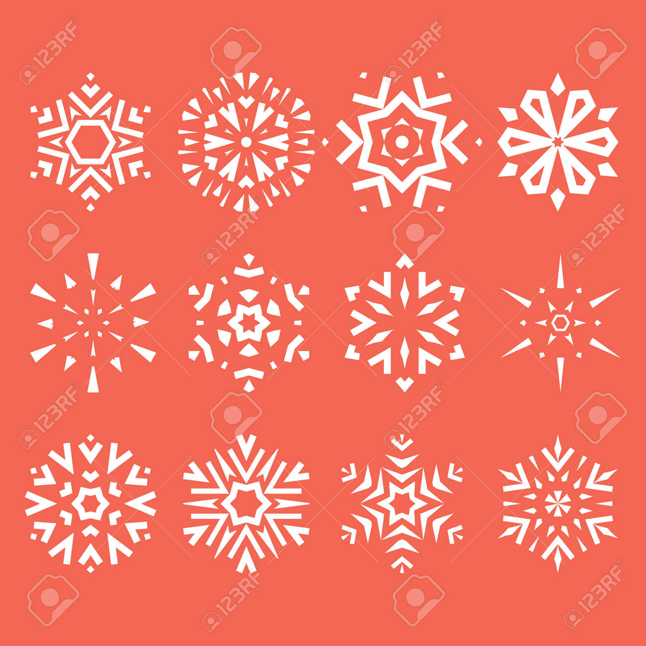 Snowflakes icon collection. Graphic modern pink and white ornament - 170173017