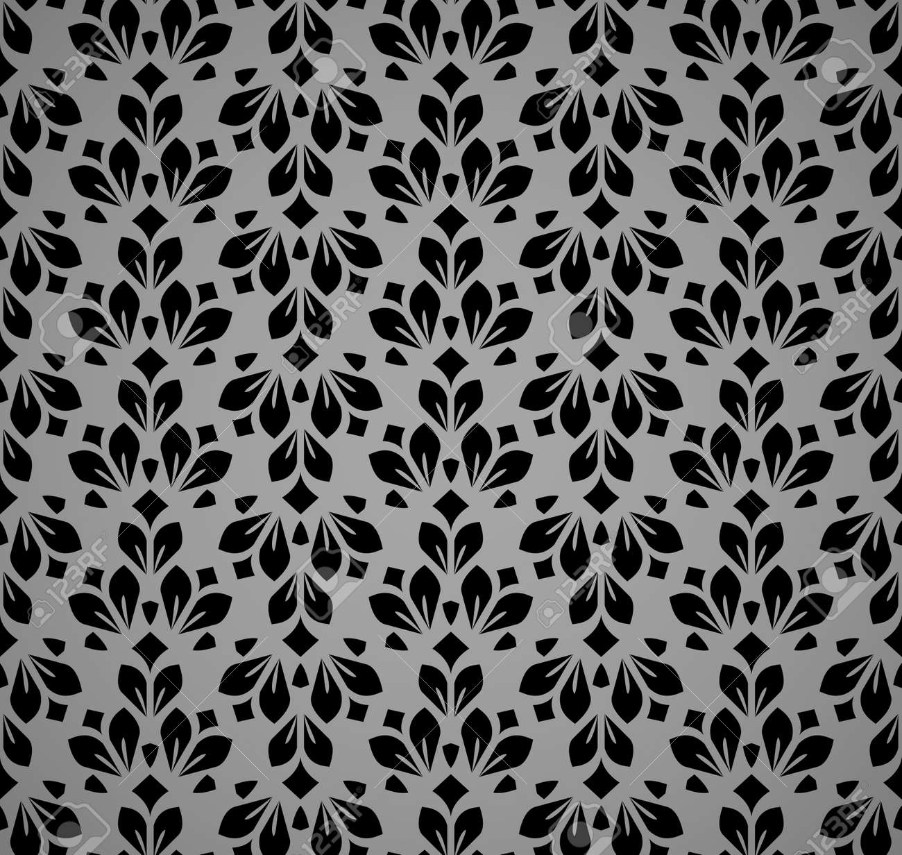 Flower geometric pattern. Seamless vector background. Black and gray ornament - 170173023