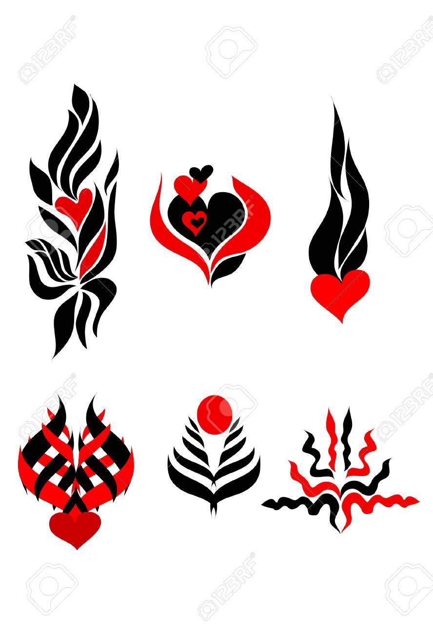 Resumen Rojo Tatuaje Negro De Impresión Ilustraciones Vectoriales