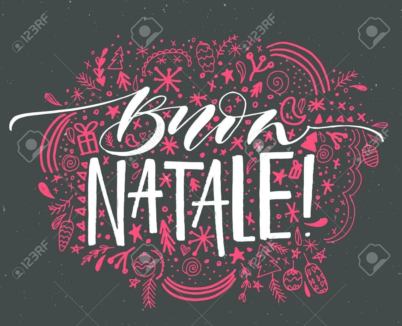Buon Natale Ornament.Buon Natale Italian Merry Christmas Text Vector Greeting Card