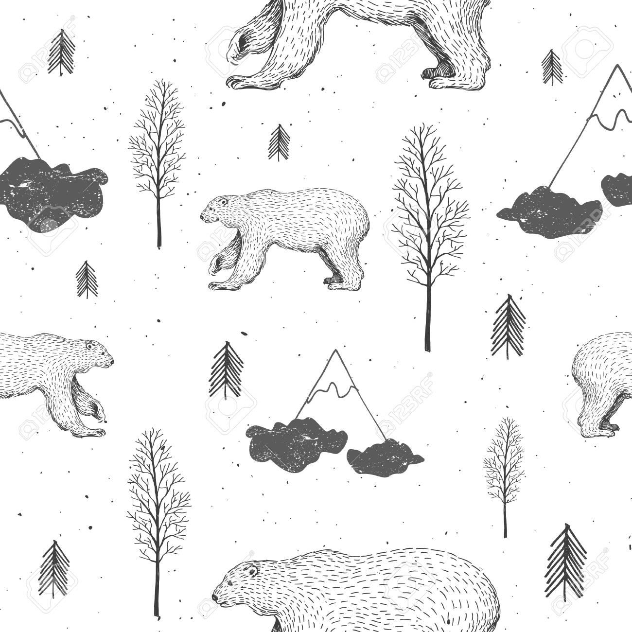 Vector Sin Patrón Con Oso Polar En El Bosque. Dibujado A Mano ...