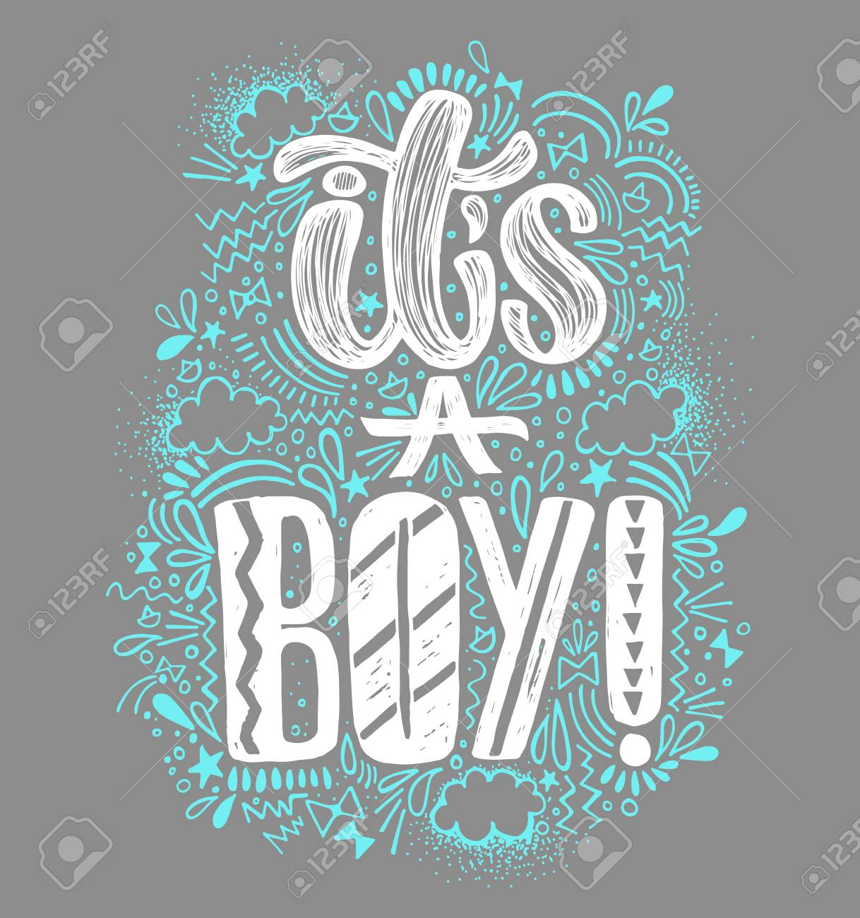 its a boy baby shower boy poster hand written lettering gray