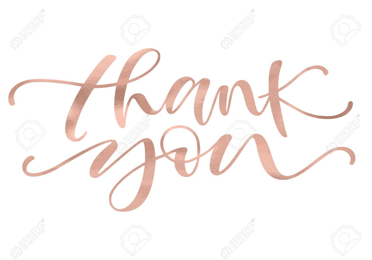 Thank you. Lettering with modern hand writing calligraphic with golden rose trendy color. Vector illustration. This concept design for thank you card, banner or advertising - 91163781