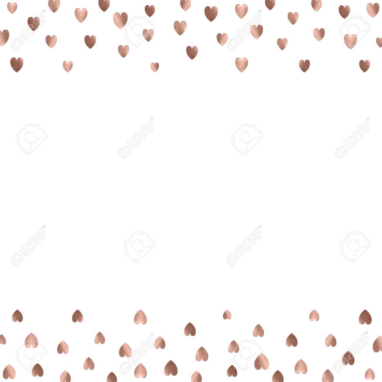 Rose Gold Glitter Beautiful Fashion Romantic Background Polka Hearts Vector Pink Golden Dots Confetti