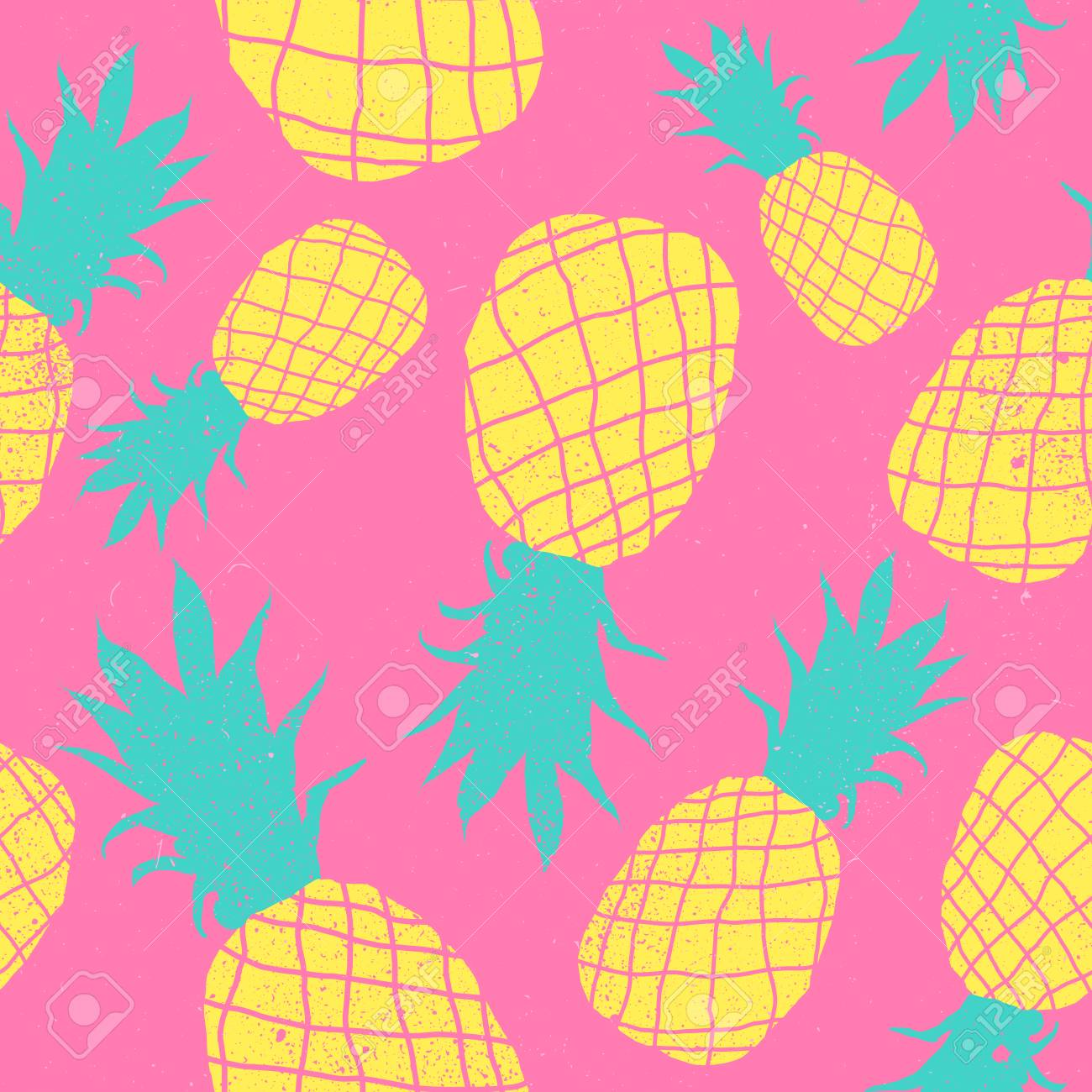 Vector Seamless Pineapple Fruit Crazy Colors Pattern Very Bright