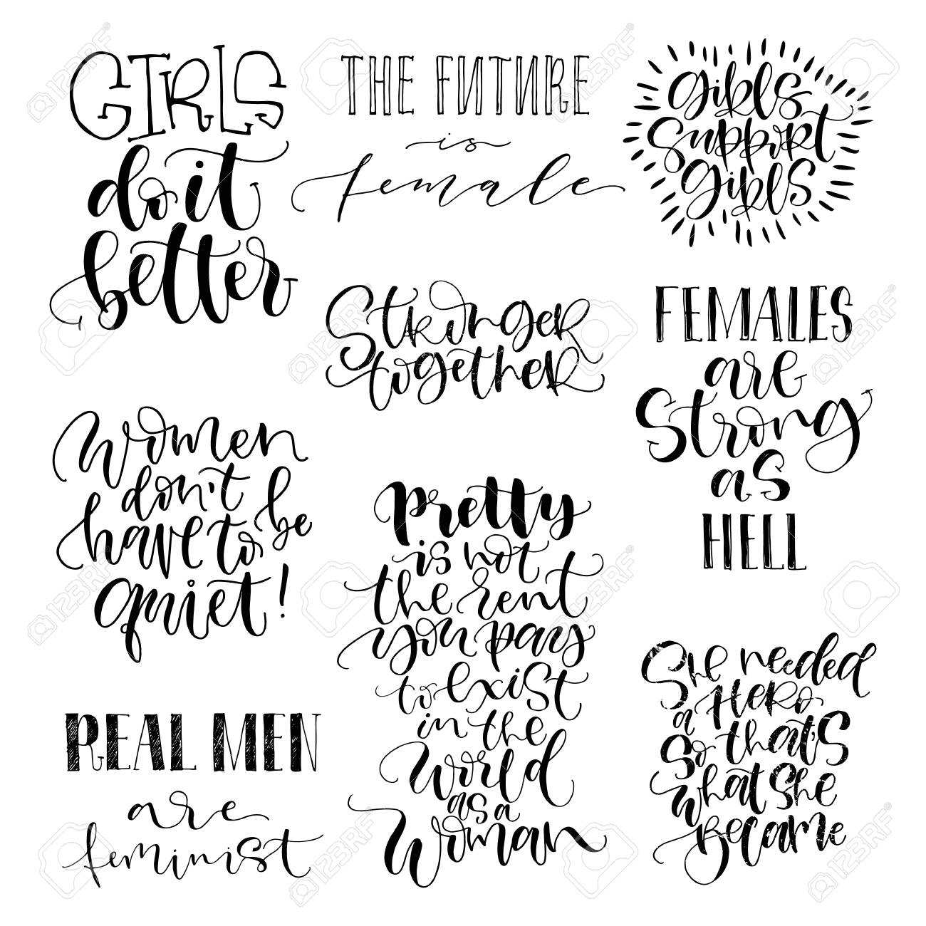 Feminist quotes set. The future is female, girls support girls,..