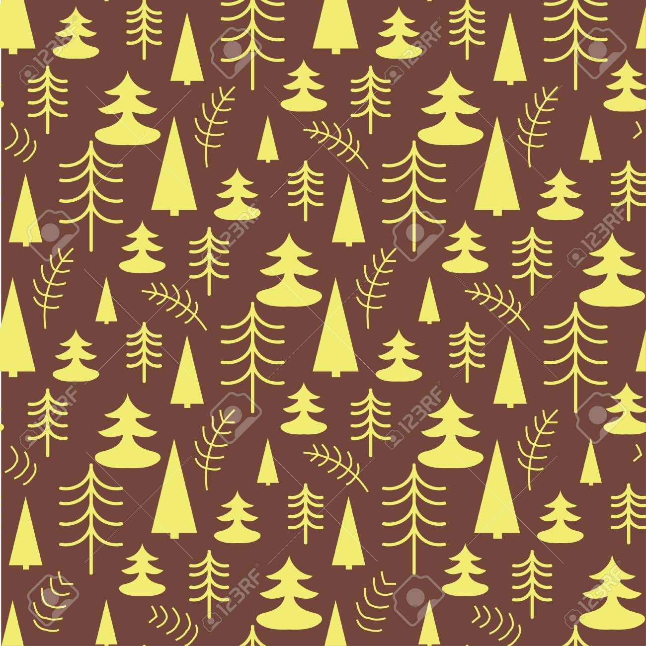 Seamless Christmas Pattern With Trees Ideal For Wrapping Paper