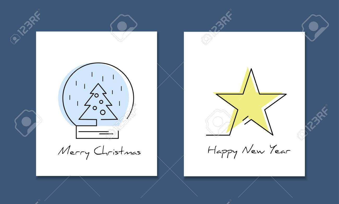 Line Style Logotype Template With Christmas Tree And Star Perfect Logo For Your Business Or