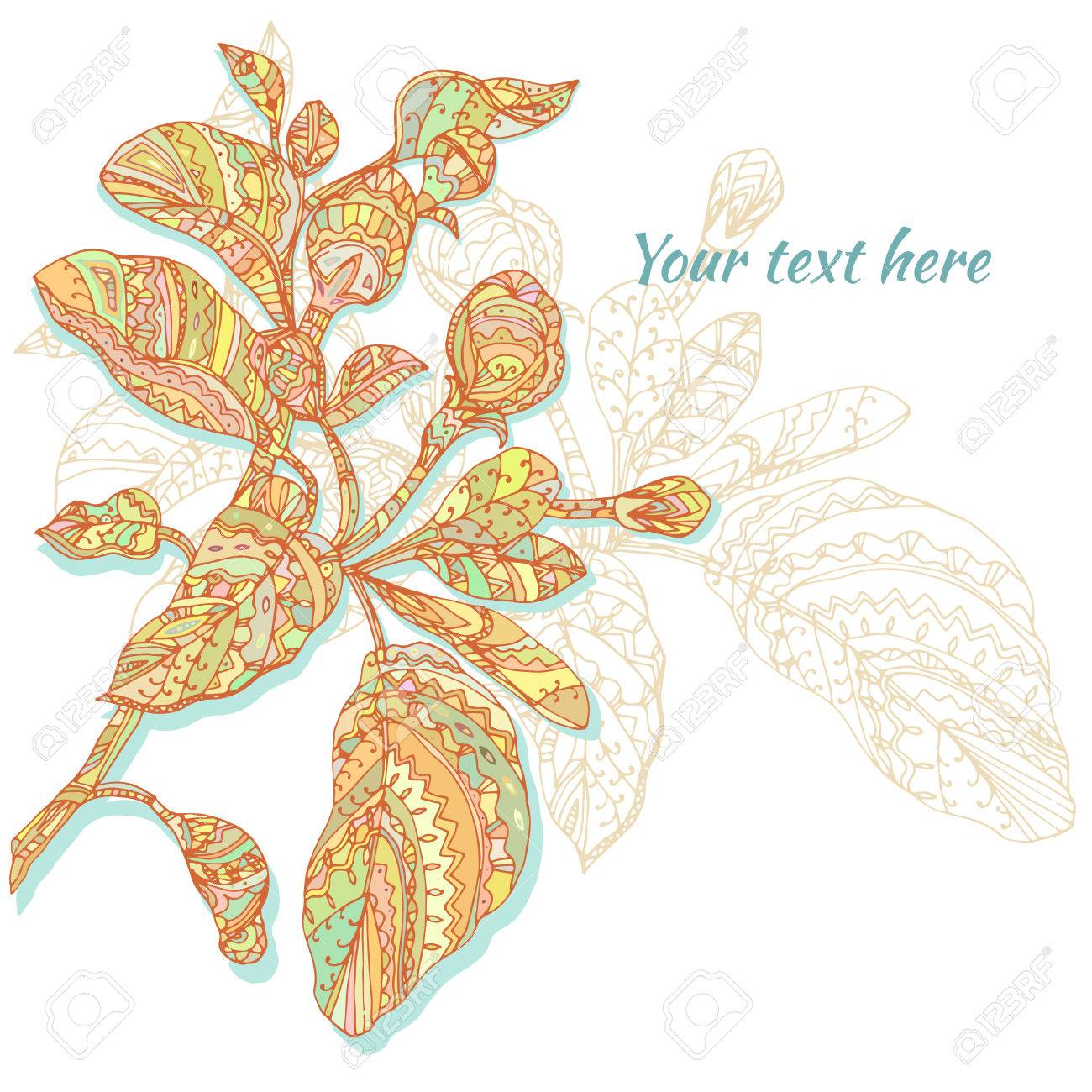 Vector Dibujado A Mano La Tarjeta De Flores Abstracto Almuerzo En El Fondo Blanco Doodle Patrón De Diseño Para La Tarjeta La Invitación Saludo